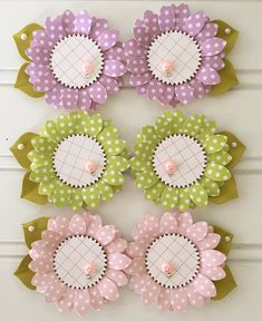 Items similar to Shabby Green Polkadot Handmade Spring Paper Flower Embellishments set of 2 on Etsy Vintage Scrapbook, Scrapbook Paper, Fall Paper Crafts, Paper Punch Art, How To Make Paper Flowers, Candy Cards, Scrapbook Embellishments, Flower Crafts, Flower Making