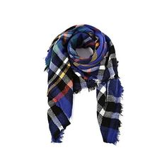 American Trends Unisex Plaid Soft Warm Blanket Tartan Scarf Large Wrap... ($17) ❤ liked on Polyvore featuring accessories, scarves, tartan shawl, blue scarves, blue shawl, wrap scarves and plaid shawl