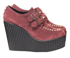 Check out our New In Burgandy Suedette Stud & Buckle Black Wedge Creepers Shop at :- www.riskyfashions.com/p/Burgandy-Suedette-Stud-and-Buckle-Black-Wedge-Creepers-_1794.html
