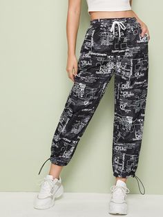 Random Print Drawstring Waist Pants – GaGodeal The Effective Pictures We Offe. Cute Comfy Outfits, Sporty Outfits, Teen Fashion Outfits, Mode Outfits, Fashion Pants, Trendy Outfits, Girl Outfits, Dope Fashion, Type Of Pants
