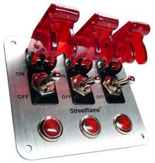3 Toggle Switch Panel - Translucent Red