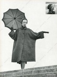 Robert Piguet 1950 Manteau-housse, Bonnet Suzanne Talbot, Photo Robert Randall