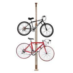 Leisure Sports Leisure Sports Tension Mount Bike Storage Rack- Holds or Displays 2 Bicycles Vertically- Adjustable Height in the Bike Racks & Storage department at Lowes.com Wooden Bicycle, Wood Bike, Bicycle Decor, Bike Hooks, Bicycle Rack, Best Bike Rack, Sport Rack, Bike Storage Rack, Bicycle Storage Garage