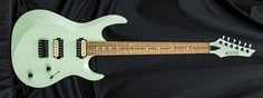 Kiesel Guitars a6h, seafoam green (SG), clear satin finish (CS), headstock color matches body (PH), zebra wood fingerboard (ZWF), stainless frets (STF), Luminlay side dots (SDL), black chrome hardware (BC)
