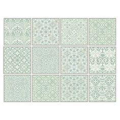 Dekorative Stickerfliesen mit tollen Motiven und Ornamenten für Wände und Fliesen | 12 teiliges Set | seidenmatt | 15x15cm | Shabby Chic Look - Vintage