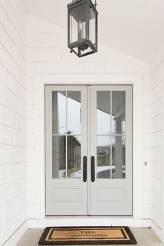 Front Door We changed the exterior color of our home to white shake and replaced our 7 solid wood doors with 8 french doors adorned with big windows that lets the morning light pour into our home - April 13 2019 at Beautiful Front Doors, Black Front Doors, Grey Doors, Wood Doors, Front French Doors, Exterior French Doors, Gray Front Door Colors, Farmhouse Front Doors, Colonial Front Door