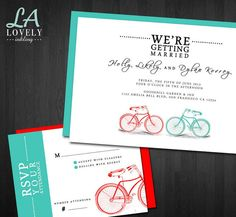 Cute Bicycle Hipster Wedding Invitations