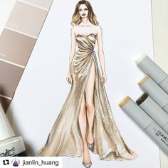 Style, Design & Class | #Repost @jianlin_huang with @get_repost ・・・... Dress Design Drawing, Dress Design Sketches, Fashion Design Sketchbook, Dress Drawing, Fashion Design Drawings, Art Sketchbook, Drawing Drawing, Drawing Tips, Fashion Drawing Dresses