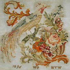 BEAUTIFUL! 1896 ANTIQUE DUTCH CROSS STITCH SAMPLER BIRD AND FLOWERS WOOL WORK