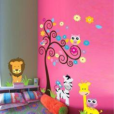 kinderzimmer deko ideen rosa wand farbige wandsticker tiere lustig farbig
