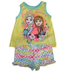 """A great fashion outfit inspired by cartoons, this Disney licensed set is a perfect addition for her summery collection. The set includes a sleeveless tank top with Frozen characters Elsa and Anna """"Sisters Forever"""", aqua piping and matching patterned short"""