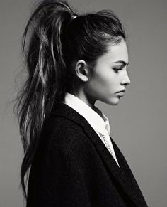 messy, thick, high knotted ponytail