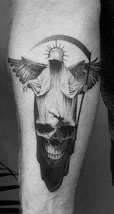Angel Tattoos - Beautiful Ideas & Designs for Men & Women Angel Of Death Tattoo, Angel Wings Tattoo On Back, Fallen Angel Tattoo, Guardian Angel Tattoo, Angel Tattoo Men, Devil Tattoo, Jesus Tattoo Design, Angel Tattoo Designs, Tattoo Sleeve Designs