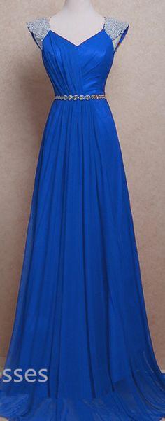 Royal Blue chiffon Prom Dresses Evening dresses