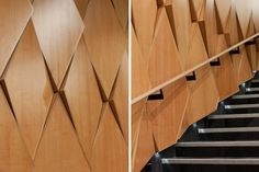 The walls and ceilings of the theatre are timber veneered panels – acoustically absorbent or reflective as required – arranged as a geometrically complex surface of diamond patterns.