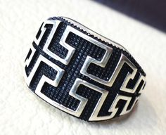 celtic knot sterling silver 925 heavy man ring by AbuMariamJewels