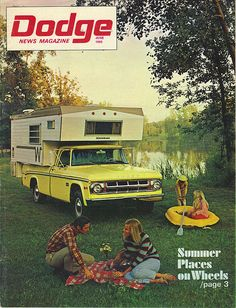 1969 Dodge Adventurer pick-up truck and camper. Truck Camper, Pickup Camper, Pickup Trucks, Vintage Rv, Vintage Trailers, Vintage Trucks, Vintage Campers, Old Dodge Trucks, Slide In Camper