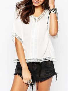 White Short Sleeve With Lace Blouse 11.99