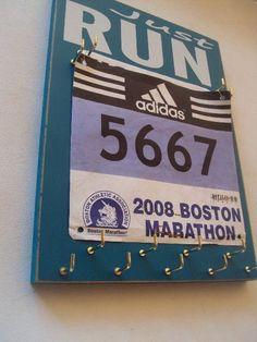 running medals hanger with running racing bibs by runningonthewall, $36.00