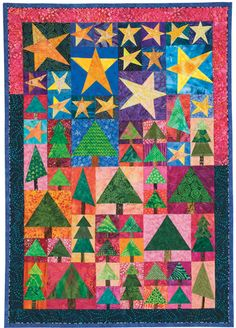 Starlit Forest designed by June Dudley, made as a group project for a co-worker. Foundation-pieced quilt, pattern can be found in Quiltmaker's Nov/Dec '10 issue.