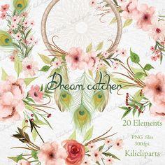 Dream catcher floral, boho wedding invitation, Wreath peacok feathers, Watercolor, bouquet arrow, feathers, flowers, bohemian clipart,