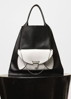 Medium Shopper Shoulder Bag in Black Shiny Smooth Calfskin with Pocket in White…