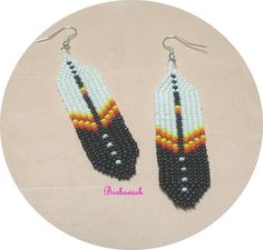 Native American Seed Bead Patterns | Native American Style Seed Bead Earrings Hand Woven by Barbswish