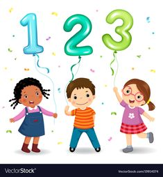 Cartoon kids holding number 123 shaped balloons vector image on VectorStock