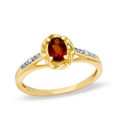 Oval Garnet and Diamond Accent Frame Ring in 10K Gold