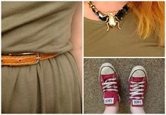 bug necklace, casual dress and converse www.helloterrilowe.com