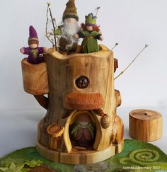 Gnome Tree House with Climbing Log by willodel on Etsy