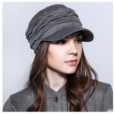 Leisure plain ruffle newsboy cap for women