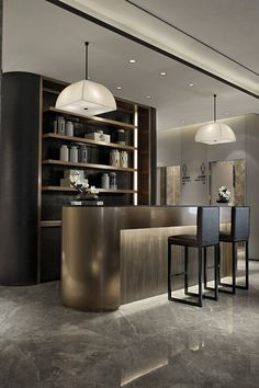 Modern home bar design ideas Bar Lounge, Bar Counter Design, Modern Home Bar, Home Bar Designs, Bar Furniture, Modern Furniture, Hospitality Design, Interior Design Inspiration, Design Ideas