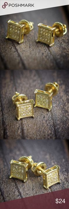MENS YELLOW GOLD CANARY SQUARE  HIP HOP EARRINGS Metal Is 100% Real Silver .925 With A Yellow Gold Finish, These are all Brilliant Round Cut Yellow Canary Diamonds Done in Pave Setting!!!Screw On Back For More Secure Fit.Size 7mmSolid .925 Sterling SilverExclusive, Designer Studs !You get . U.S SELLER & ALL ORDERS ARE SHIPPED USPS WITH TRACKING VIBRANT,INCREDIBLE DESIGNER YELLOW GOLD CANARY YELLOW EARRING STUDS.Metal Is 100% Real Silver .925 With A Yellow Gold Finish, These are all Brilli Ts