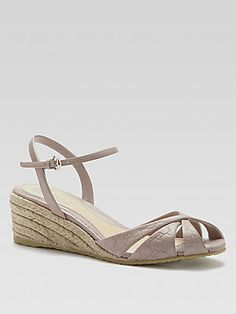 Gucci Penelope Leather Espadrille Wedge Sandals