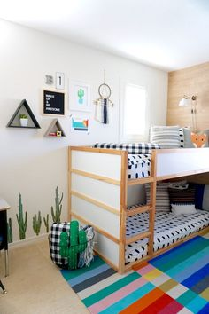 Modern Colorful Boy's Room Reveal with Beddy's, Boho Boys Room Design, Big boys room design reveal, Beddy's bedding is the perfection solution for bunk beds Shared Boys Rooms, Shared Bedrooms, Kids Rooms, Boys Bedroom Ideas With Bunk Beds, Small Shared Bedroom, Little Boy Bedroom Ideas, Modern Boys Rooms, Boy And Girl Shared Bedroom, Little Boys Rooms