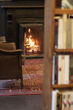 books, comfy chair, and a fire...