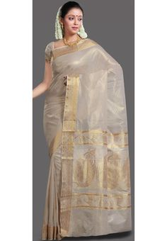Light Cream Cotton Kerala Kasavu Saree with Blouse