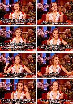 Emma Watson on British guys vs. I shall combine them both and be the perfect guy for Emma Watson! Harry Potter Love, Harry Potter Memes, Harry Potter Interviews, Movies Quotes, Funny Quotes, Happy Quotes, Emma Watson Funny, Must Be A Weasley, Pranks