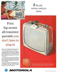 Ad for the Motorola Portable TV, Old Advertisements, Retro Advertising, Retro Ads, Vintage Tv, Vintage Prints, Vintage Posters, Vintage Photos, Radios, Vintage Television