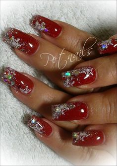 Nails Christmas holiday red snowflake sparkle glitter nail art