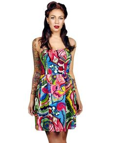 Exotic Flower Tropical Vacation Side Pockets Strapless Mini Dress listed under 46. Def Planet