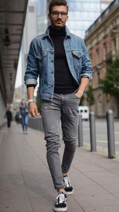 Chinos Men Outfit, Grey Jeans Outfit, Grey Jeans Men, Men Denim Jacket Outfit, Grey Chinos Men, Black Denim Jacket Outfit, Black Outfit Men, Man Outfit, Jacket Jeans
