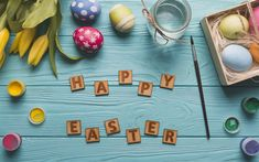 Download wallpapers Happy Easter, yellow tulips, eggs, paints, decorating eggs