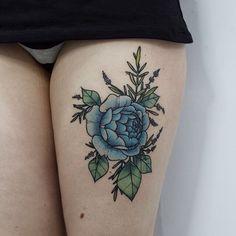 Blue flower thigh tatt