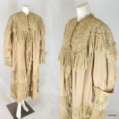Antique Edwardian Opera Evening Coat Ecru Silk Faille Lace Bonwit Label Size L  http://stores.ebay.com/mmmostsoldtimestuffandthreads/