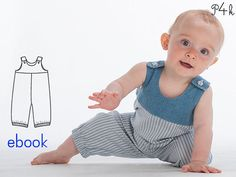 Baby-pants pattern, dungaree pattern, boy jumper, jumpsuit, trousers, romper, boy, girl, Ebook PDF sewing Pattern Bobby from Pattern4kids Onesie baby pattern Overall long pants for boys and girls with elastic hemline. For winter and summer, depending on fabric choice Suggested fabric: fine corduroy, cotton fabrics, light denim Sizes 6M/9M - 12M/18M - 2Y/3Y - 4Y/5Y Instructions with pictures of every single step Your sewing pattern includes • PDF file with easy to follo...