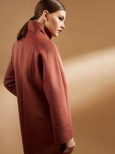 Пальто женское демисезонное цвет корица, Пальтовая ткань, артикул 1017150p10026