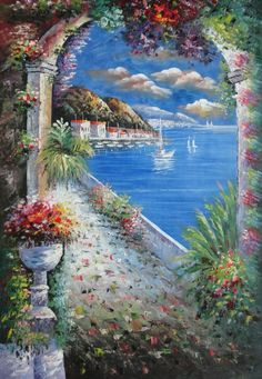 Buy Framed Or Unframed Mediterranean Arch Oil Painting Naturalism 36 x 24 Inches at BeyondDream Art.