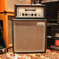 Vintage 1972 Matamp Head & Cabinet StackThis matching Matamp 1 x 15 cabinet & head is one of the rarest examples of Matamp Vintage Electric Guitars, Vintage Guitars, Guitar Amp, Cool Guitar, Guitar Cabinet, Great Speakers, Bass Amps, British Invasion, Guitar Effects Pedals